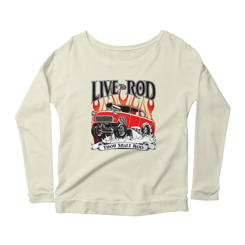55 Chevy Gasser #2, Clean red Women's Longsleeve Scoopneck  by screamnjimmy's Artist Shop