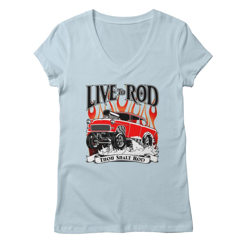55 Chevy Gasser #2, Clean red Women's V-Neck by screamnjimmy's Artist Shop