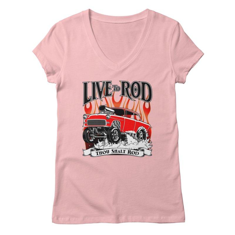 55 Chevy Gasser #2, Clean red Women's Regular V-Neck by screamnjimmy's Artist Shop