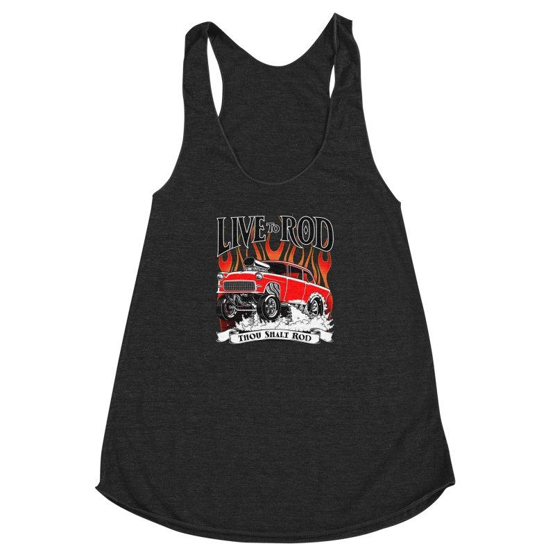 55 Chevy Gasser #2, Clean red Women's Racerback Triblend Tank by screamnjimmy's Artist Shop