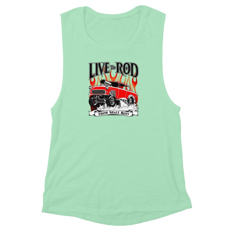 55 Chevy Gasser #2, Clean red Women's Muscle Tank by screamnjimmy's Artist Shop