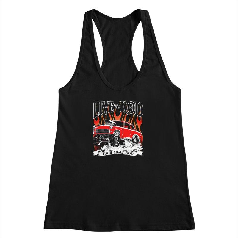 55 Chevy Gasser #2, Clean red Women's Racerback Tank by screamnjimmy's Artist Shop