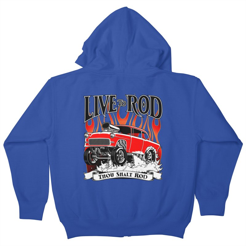 55 Chevy Gasser #2, Clean red Kids Zip-Up Hoody by screamnjimmy's Artist Shop