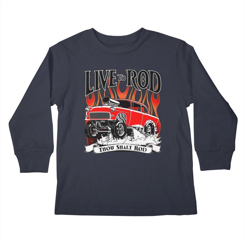 55 Chevy Gasser #2, Clean red Kids Longsleeve T-Shirt by screamnjimmy's Artist Shop
