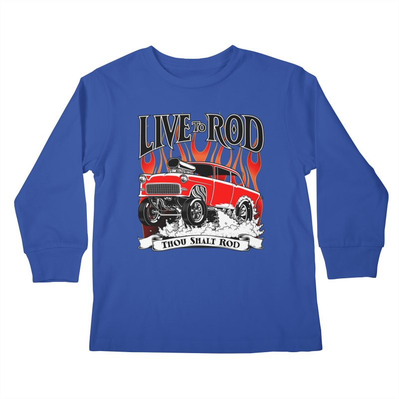 55 Chevy Gasser #2, Clean red Kids Longsleeve T-Shirt by screamnjimmy's Artist Shop