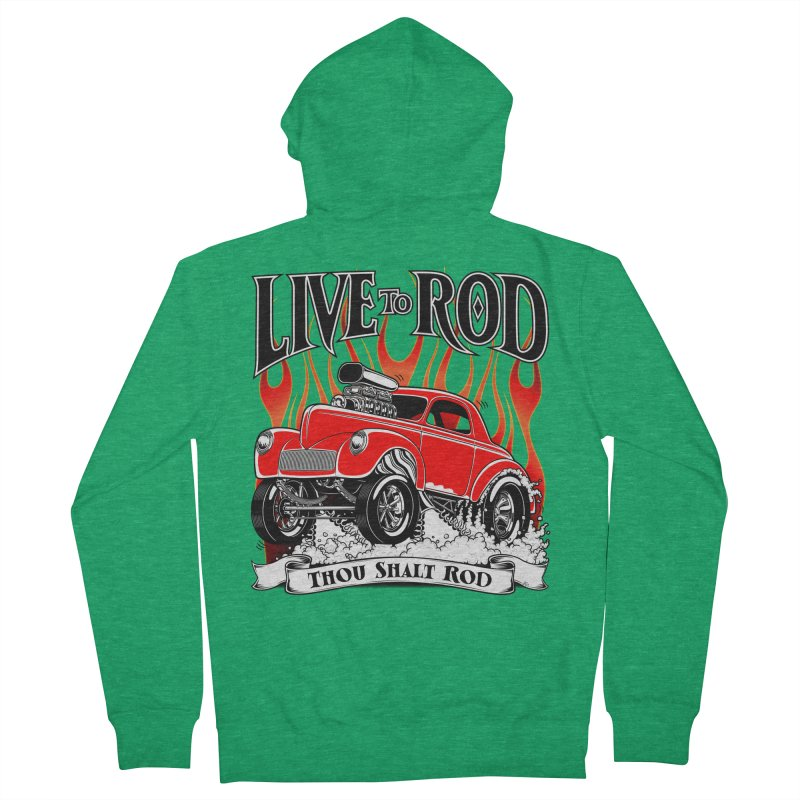 41 Willys Gasser – clean red Men's French Terry Zip-Up Hoody by screamnjimmy's Artist Shop