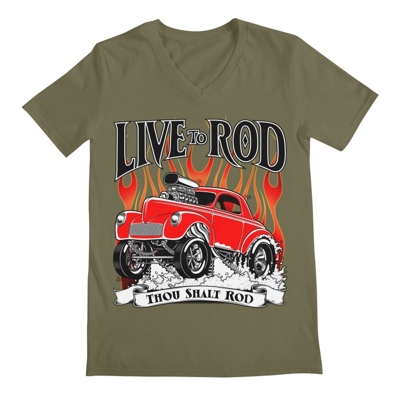 41 Willys Gasser – clean red Men's V-Neck by screamnjimmy's Artist Shop