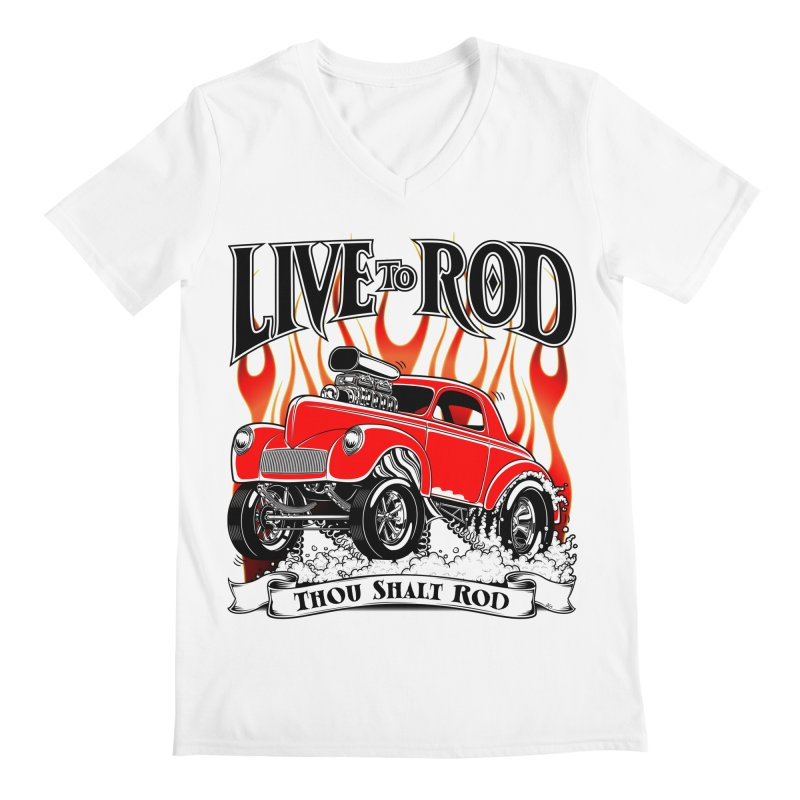 41 Willys Gasser – clean red Men's Regular V-Neck by screamnjimmy's Artist Shop