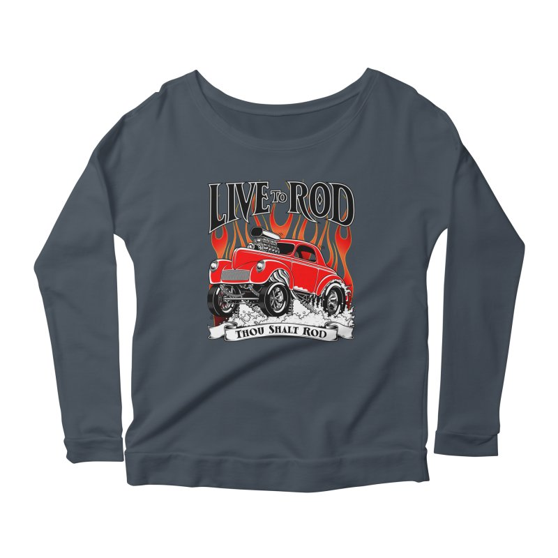 41 Willys Gasser – clean red Women's Scoop Neck Longsleeve T-Shirt by screamnjimmy's Artist Shop
