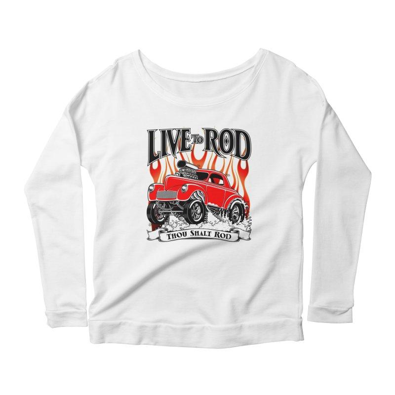 41 Willys Gasser – clean red Women's Scoop Neck Longsleeve T-Shirt by screamnjimmy's Artist Shop