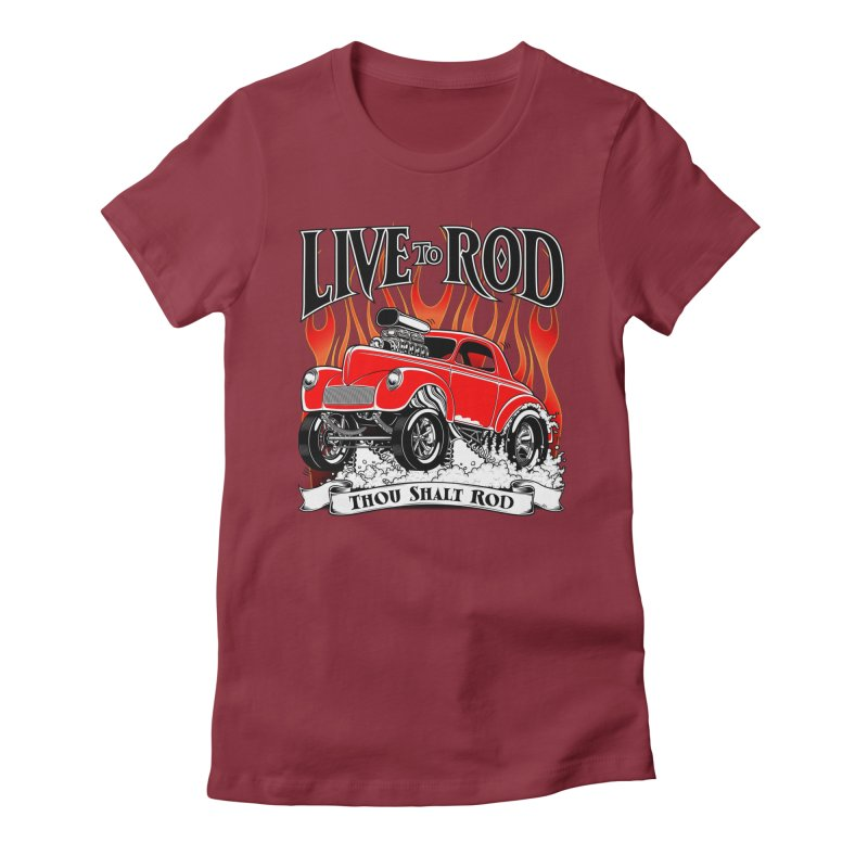 41 Willys Gasser – clean red Women's Fitted T-Shirt by screamnjimmy's Artist Shop