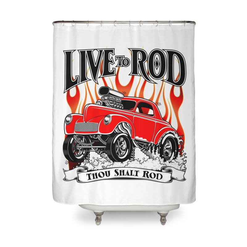 41 Willys Gasser – clean red Home Shower Curtain by screamnjimmy's Artist Shop