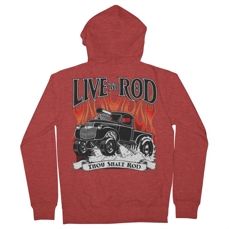46' Chevy Gasser Pickup - Black Women's Zip-Up Hoody by screamnjimmy's Artist Shop