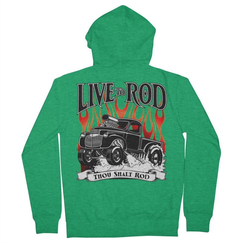 46' Chevy Gasser Pickup - Black Men's Zip-Up Hoody by screamnjimmy's Artist Shop