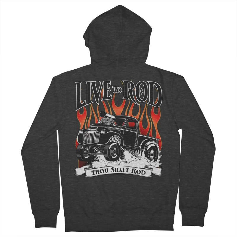 46' Chevy Gasser Pickup - Black Men's French Terry Zip-Up Hoody by screamnjimmy's Artist Shop
