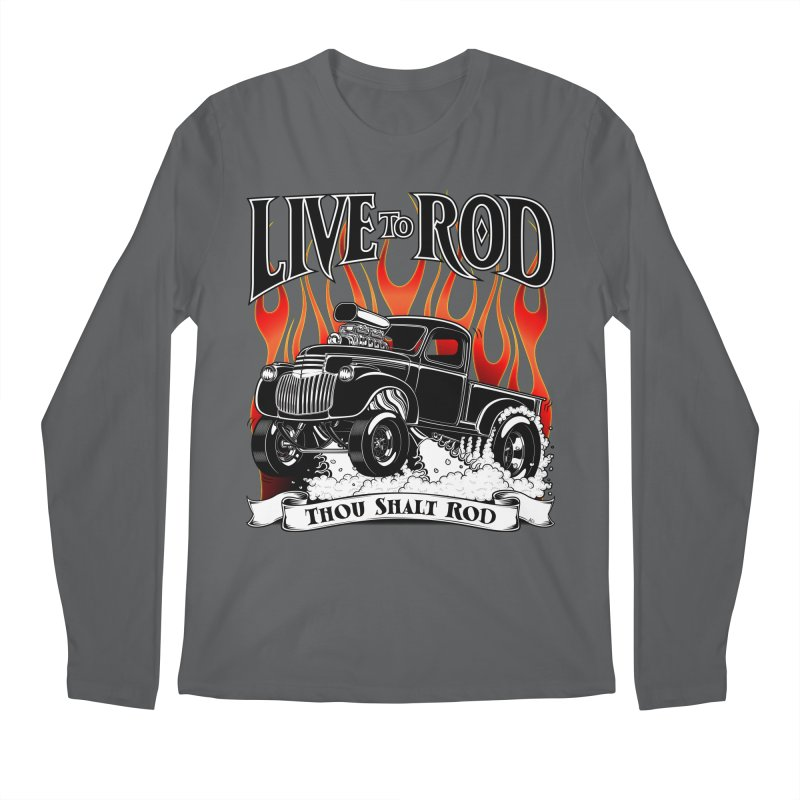 46' Chevy Gasser Pickup - Black Men's Regular Longsleeve T-Shirt by screamnjimmy's Artist Shop