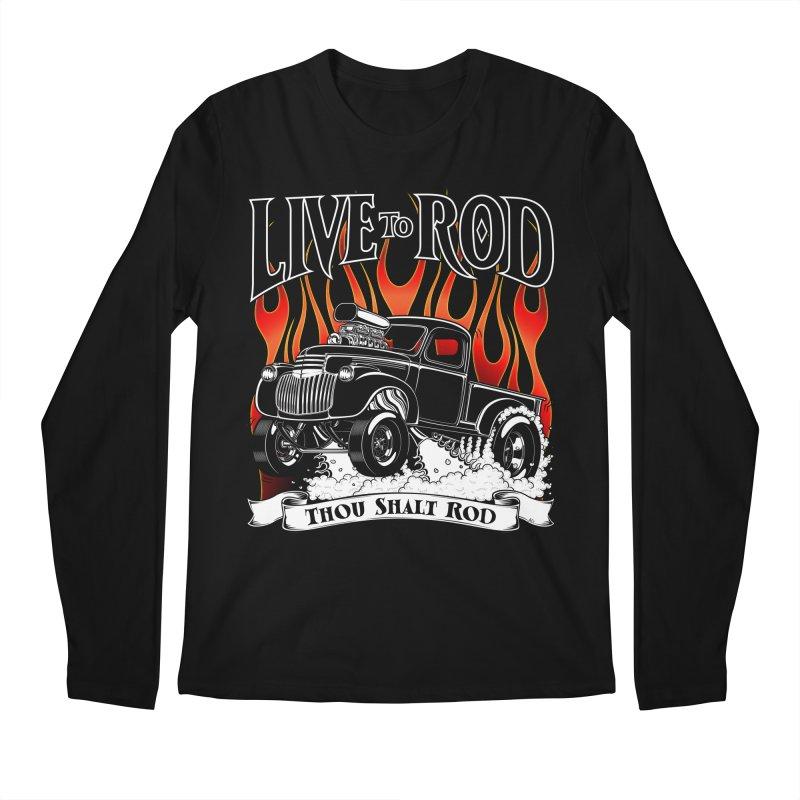 46' Chevy Gasser Pickup - Black Men's Longsleeve T-Shirt by screamnjimmy's Artist Shop