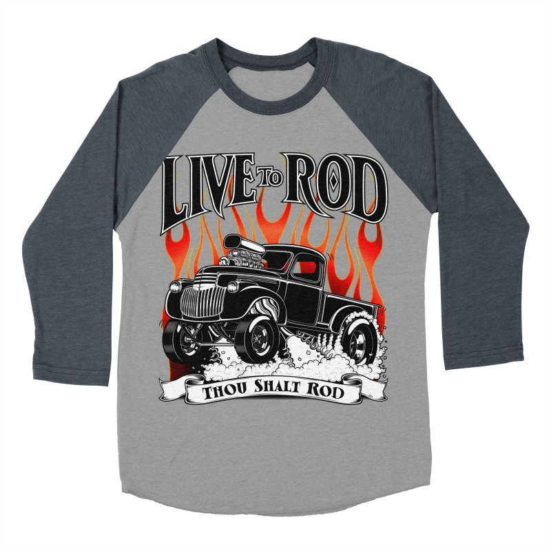 46' Chevy Gasser Pickup - Black Men's Baseball Triblend Longsleeve T-Shirt by screamnjimmy's Artist Shop