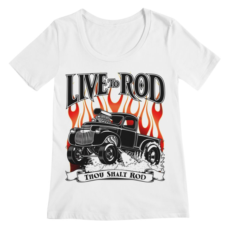 46' Chevy Gasser Pickup - Black Women's Regular Scoop Neck by screamnjimmy's Artist Shop