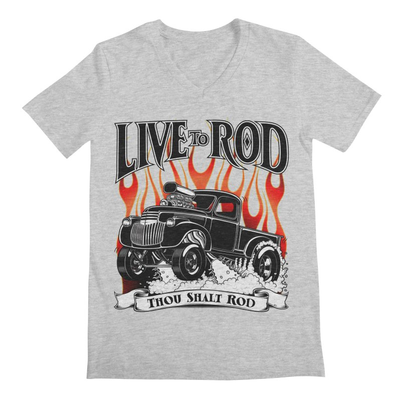 46' Chevy Gasser Pickup - Black Men's Regular V-Neck by screamnjimmy's Artist Shop