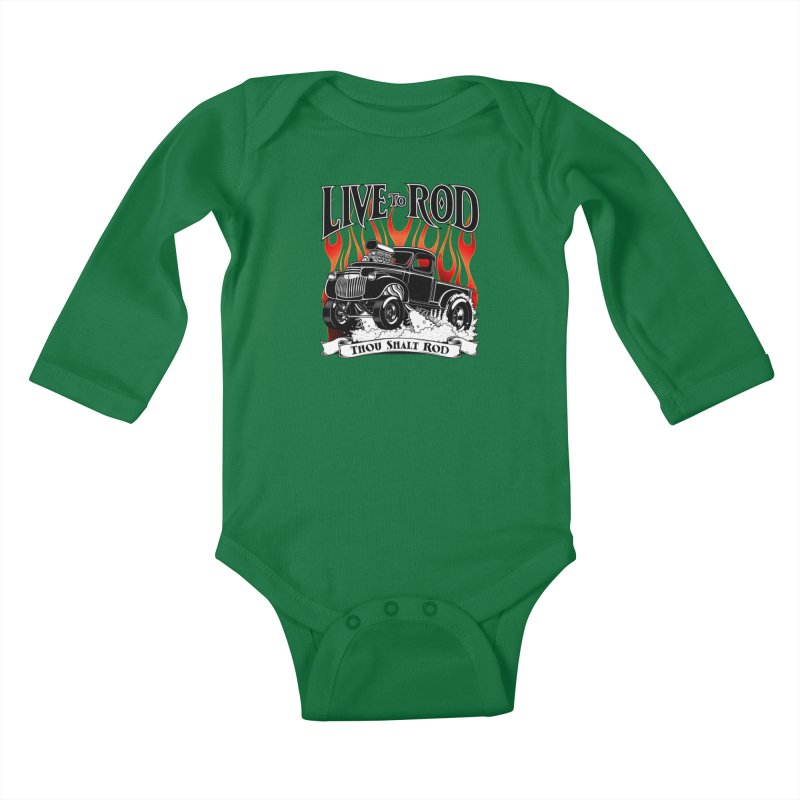 46' Chevy Gasser Pickup - Black Kids Baby Longsleeve Bodysuit by screamnjimmy's Artist Shop
