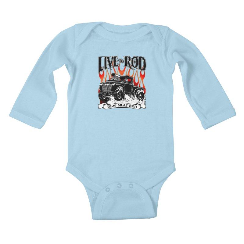 46' Chevy Gasser Pickup - Black Kids Baby Longsleeve Bodysuit by screamnjimmy's Artist Shop