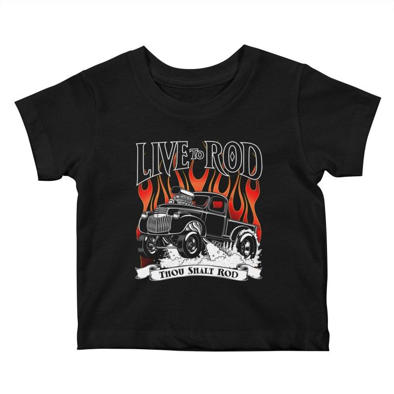 46' Chevy Gasser Pickup - Black Kids Baby T-Shirt by screamnjimmy's Artist Shop