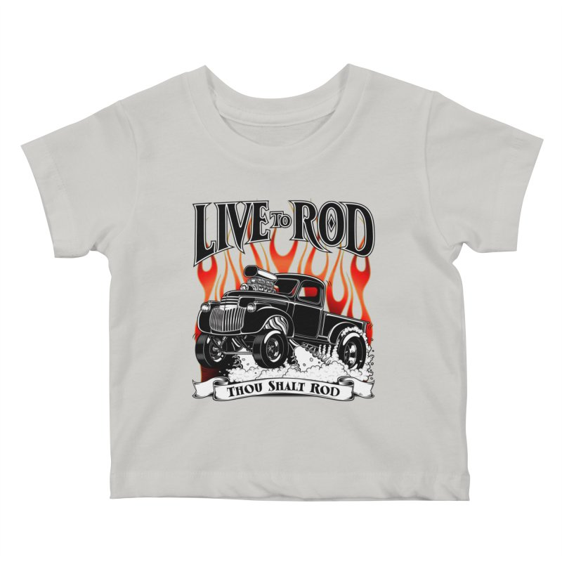 46' Chevy Gasser Pickup - Black Kids Baby T-Shirt by screamnjimmy's Artist Shop