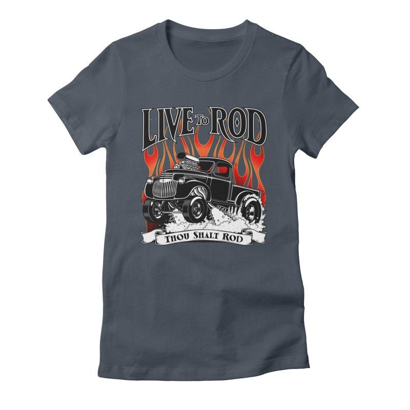 46' Chevy Gasser Pickup - Black Women's T-Shirt by screamnjimmy's Artist Shop