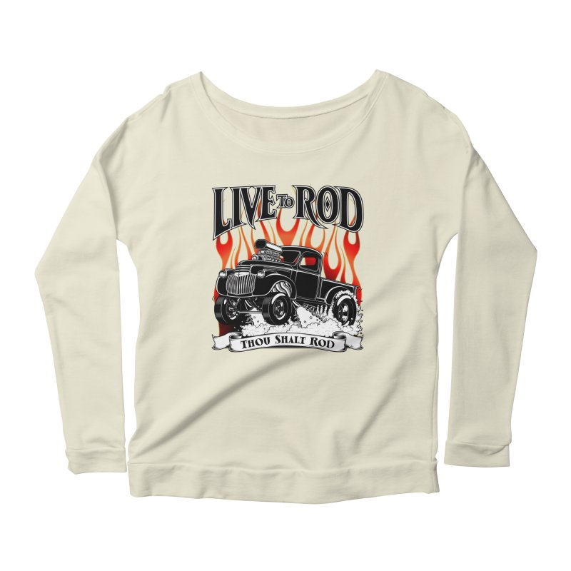 46' Chevy Gasser Pickup - Black Women's Longsleeve Scoopneck  by screamnjimmy's Artist Shop