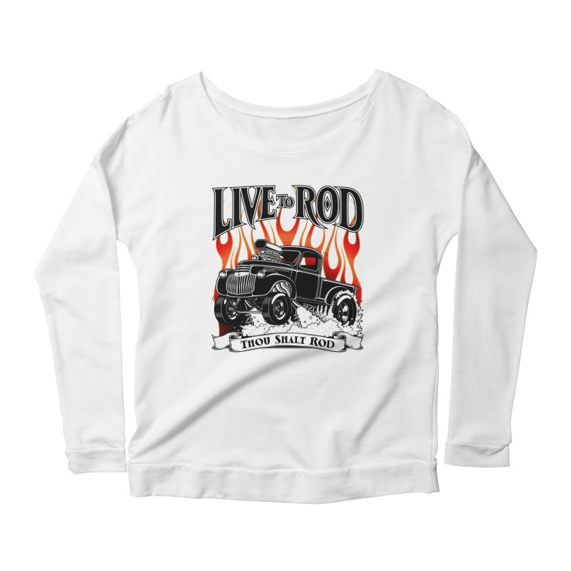 46' Chevy Gasser Pickup - Black Women's Scoop Neck Longsleeve T-Shirt by screamnjimmy's Artist Shop