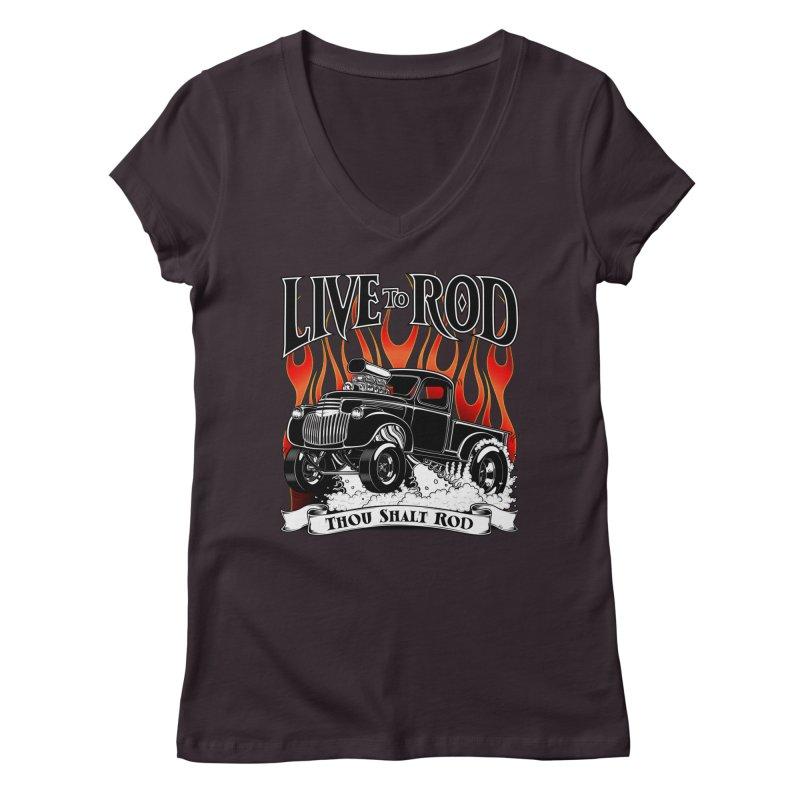 46' Chevy Gasser Pickup - Black Women's V-Neck by screamnjimmy's Artist Shop