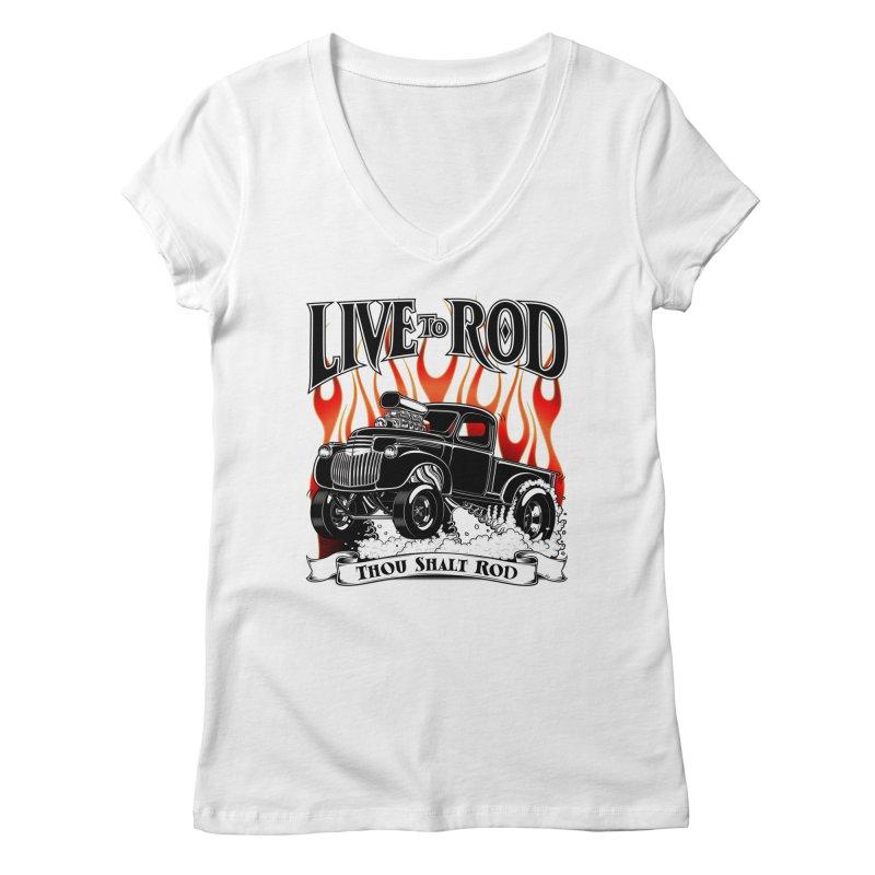 46' Chevy Gasser Pickup - Black Women's Regular V-Neck by screamnjimmy's Artist Shop