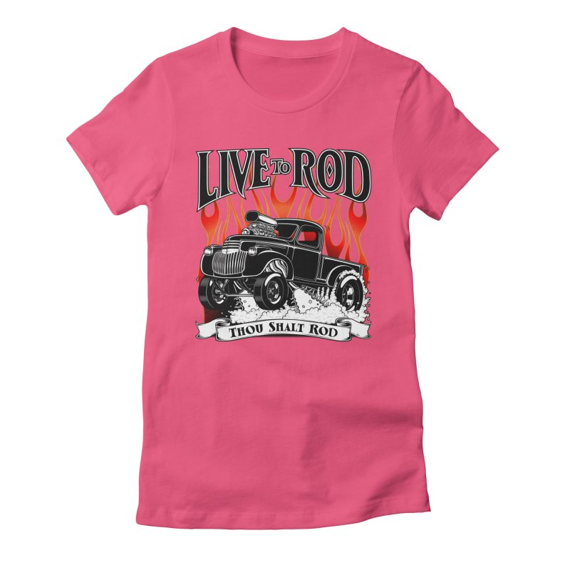46' Chevy Gasser Pickup - Black Women's Fitted T-Shirt by screamnjimmy's Artist Shop