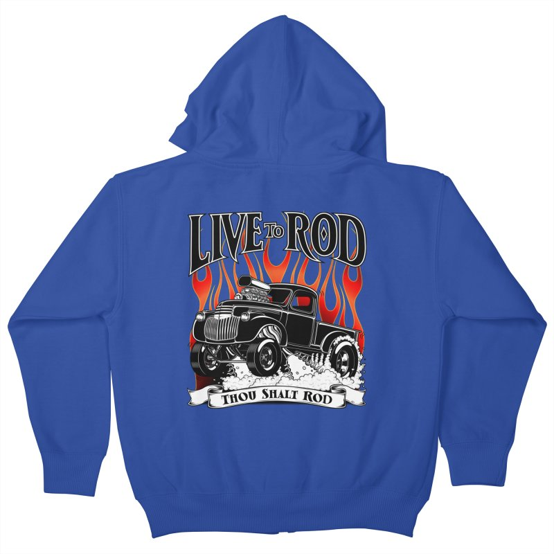 46' Chevy Gasser Pickup - Black Kids Zip-Up Hoody by screamnjimmy's Artist Shop