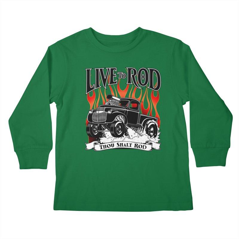 46' Chevy Gasser Pickup - Black Kids Longsleeve T-Shirt by screamnjimmy's Artist Shop