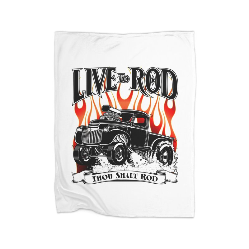 46' Chevy Gasser Pickup - Black Home Fleece Blanket Blanket by screamnjimmy's Artist Shop