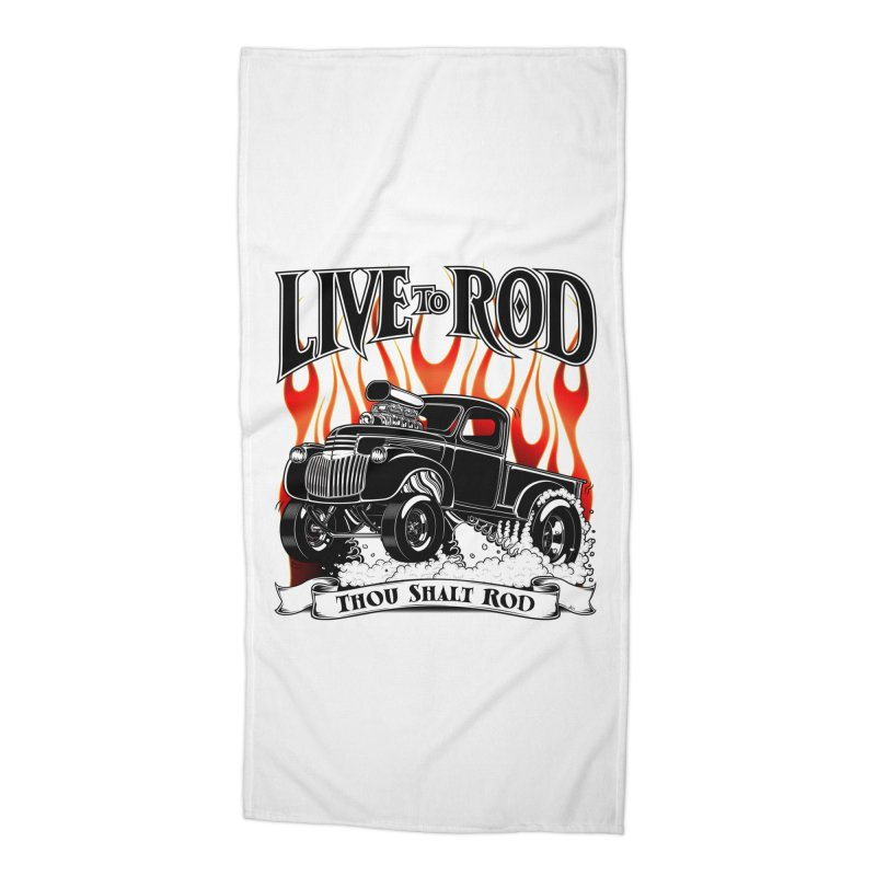 46' Chevy Gasser Pickup - Black Accessories Beach Towel by screamnjimmy's Artist Shop