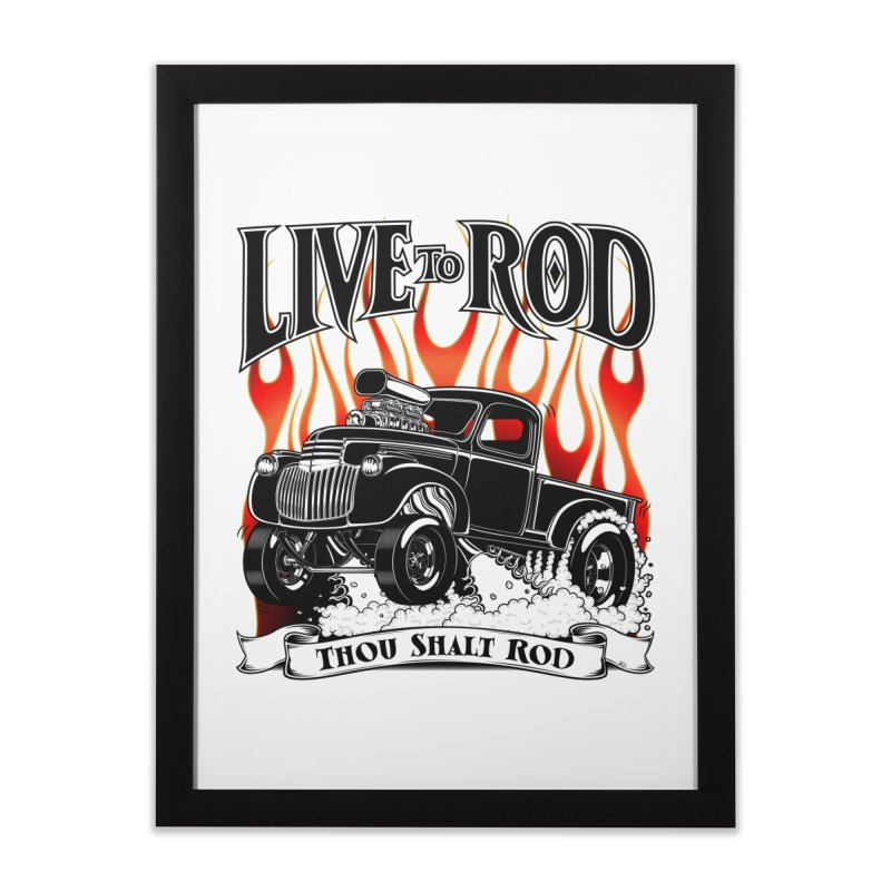 46' Chevy Gasser Pickup - Black Home Framed Fine Art Print by screamnjimmy's Artist Shop
