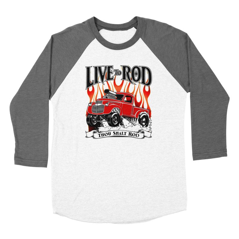 46' Chevy Gasser Pickup - RED Women's Longsleeve T-Shirt by screamnjimmy's Artist Shop