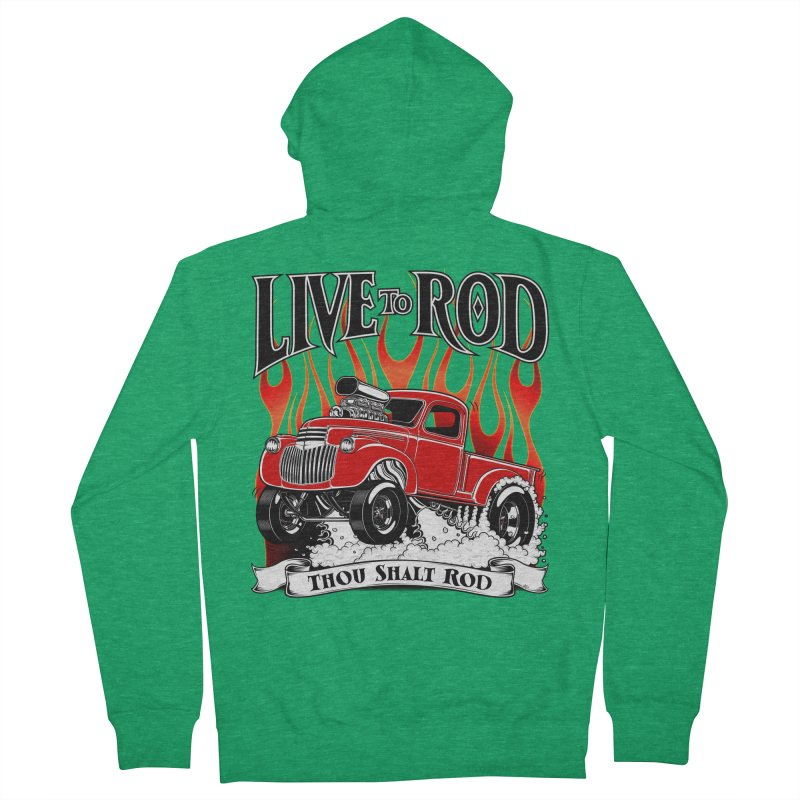 46' Chevy Gasser Pickup - RED Women's Zip-Up Hoody by screamnjimmy's Artist Shop
