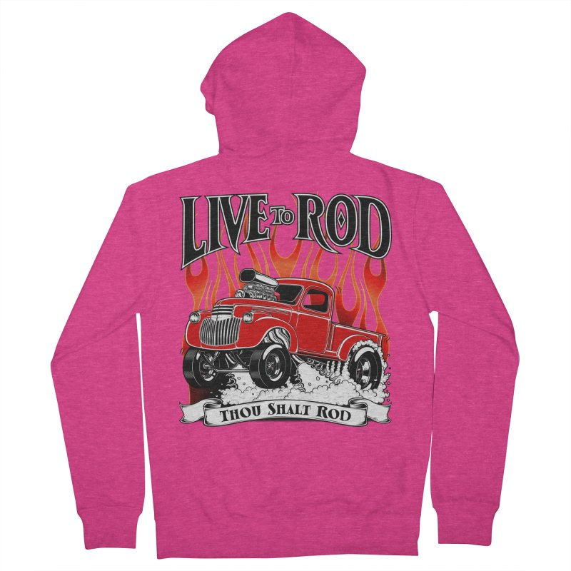 46' Chevy Gasser Pickup - RED Women's French Terry Zip-Up Hoody by screamnjimmy's Artist Shop