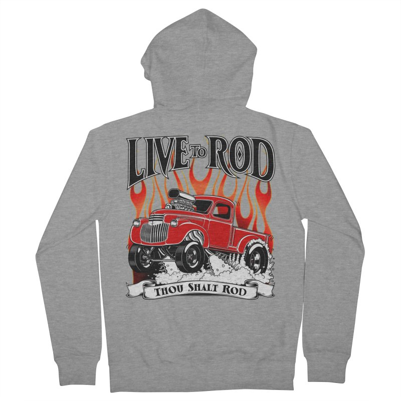 46' Chevy Gasser Pickup - RED Men's French Terry Zip-Up Hoody by screamnjimmy's Artist Shop