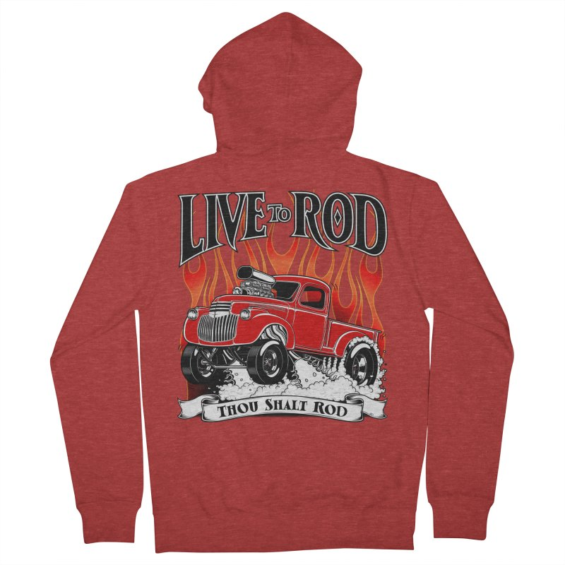 46' Chevy Gasser Pickup - RED Men's Zip-Up Hoody by screamnjimmy's Artist Shop