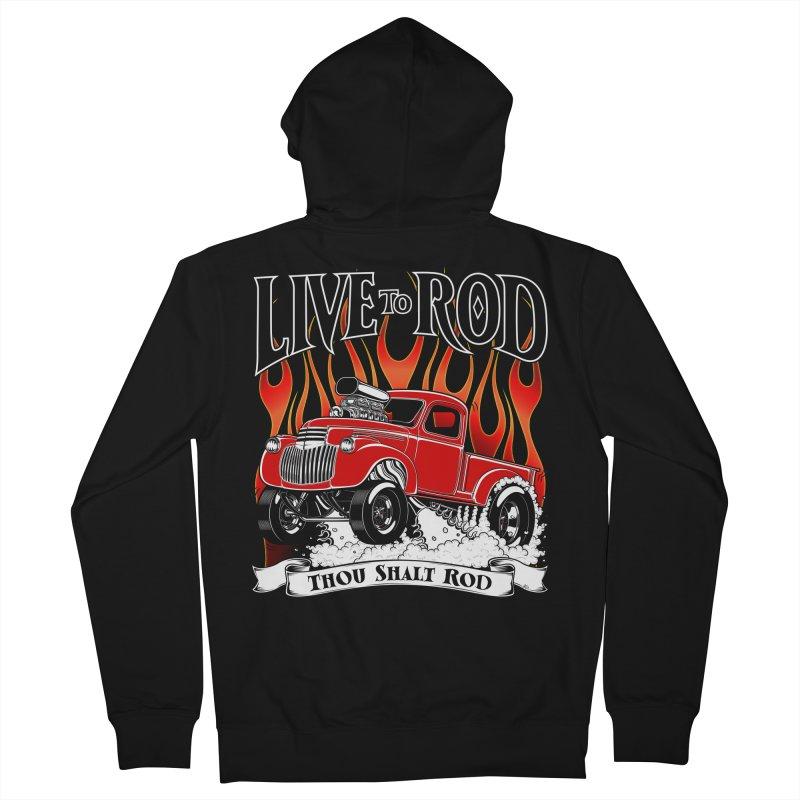 46' Chevy Gasser Pickup - RED Men's Zip-Up Hoody by screamnjimmy's Artist Shop