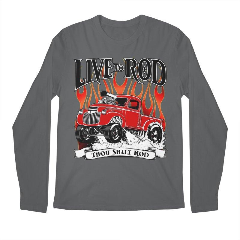 46' Chevy Gasser Pickup - RED Men's Regular Longsleeve T-Shirt by screamnjimmy's Artist Shop