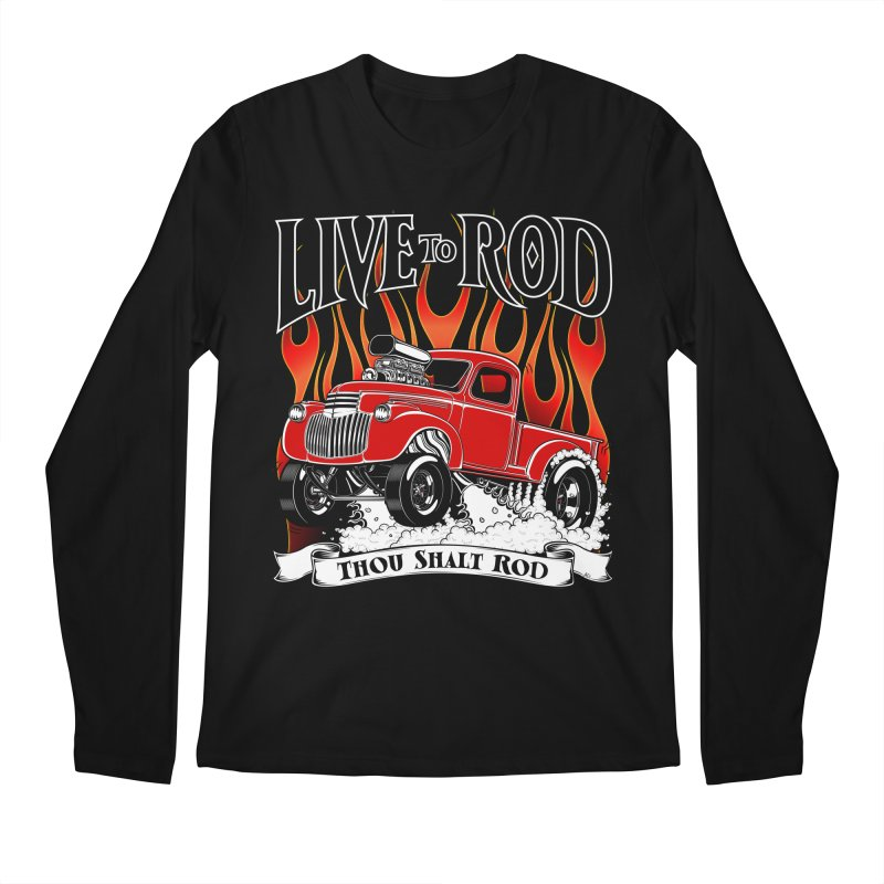 46' Chevy Gasser Pickup - RED Men's Regular Longsleeve T-Shirt by screamnjimmy's Artist Shop