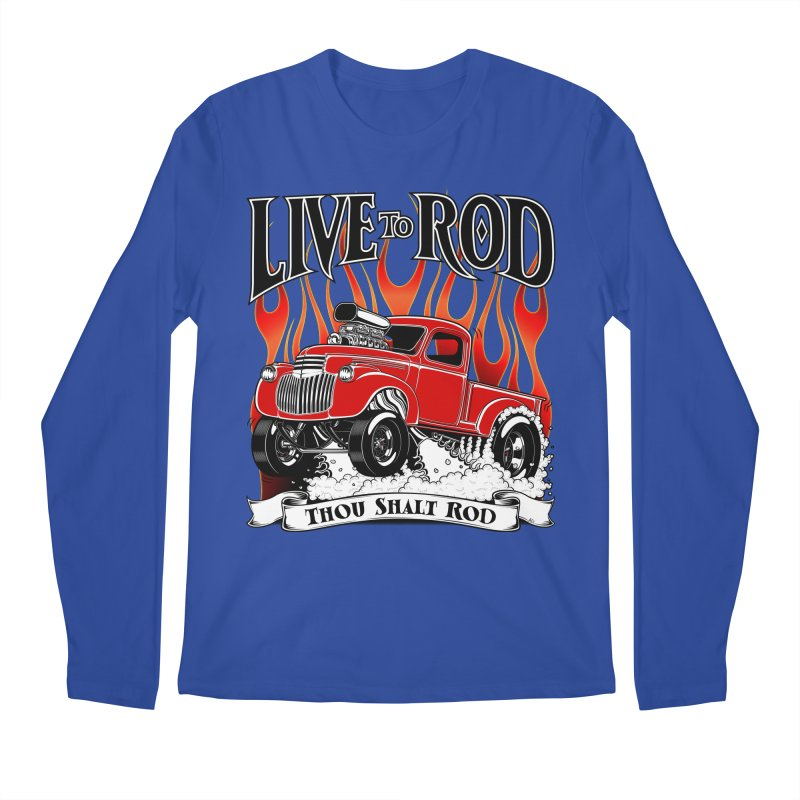46' Chevy Gasser Pickup - RED Men's Longsleeve T-Shirt by screamnjimmy's Artist Shop
