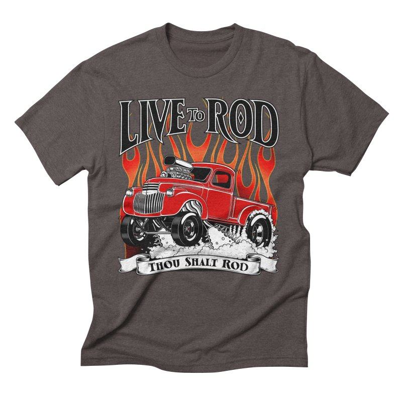 46' Chevy Gasser Pickup - RED Men's Triblend T-shirt by screamnjimmy's Artist Shop