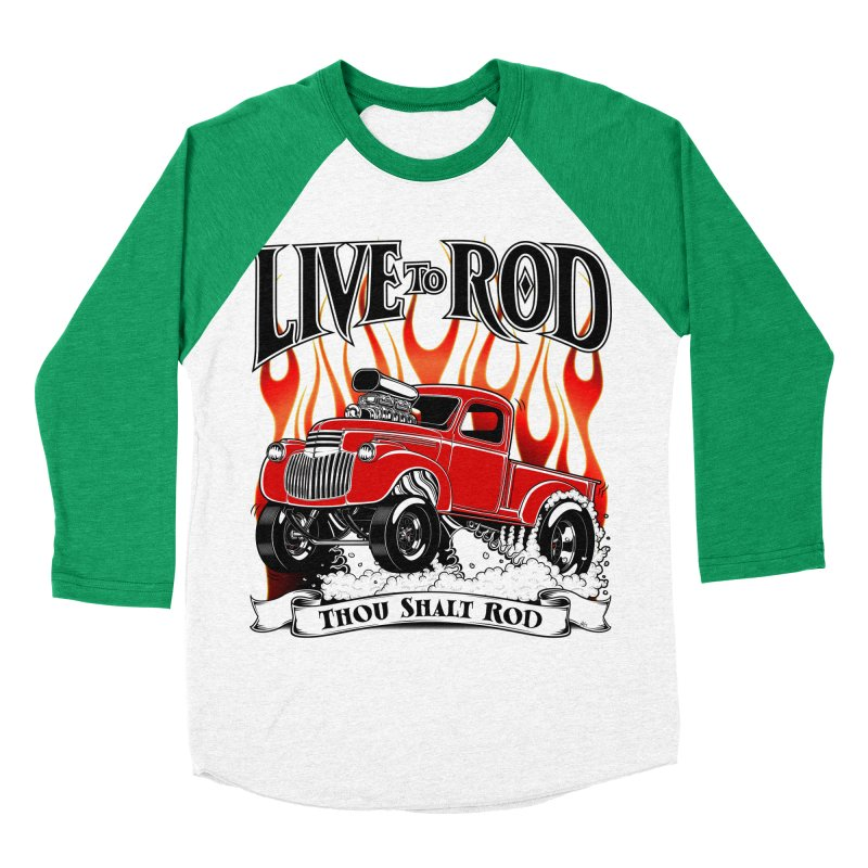 46' Chevy Gasser Pickup - RED Men's Baseball Triblend T-Shirt by screamnjimmy's Artist Shop